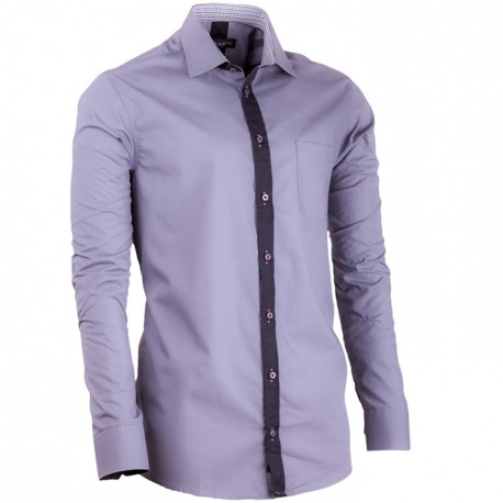 Prodloužená pánská košile šedá slim fit Assante 20718