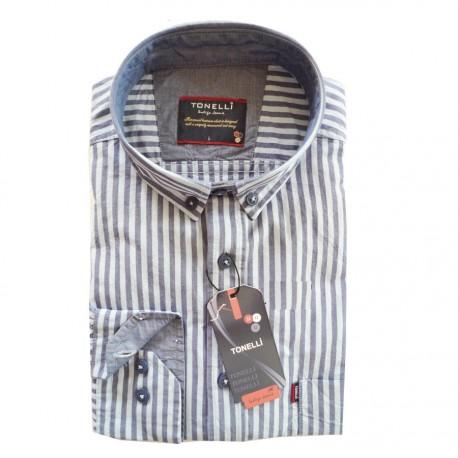 Modrá pánská košile dlouhý rukáv rovný střih Tonelli 110911