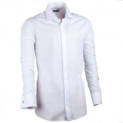 Prodloužená košile na manžetový knoflík slim bílá Assante 20016