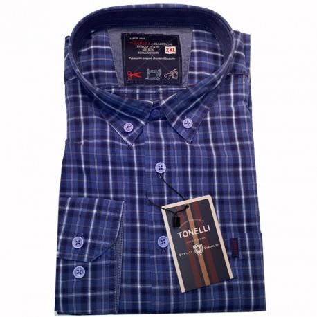 Modrá pánské košile dlouhý rukáv rovný střih Tonelli 110935