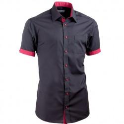 Černá košile slim fit kombinovaná Aramgad 40141