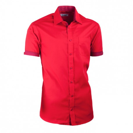 Červená košile slim fit kombinovaná Aramgad 40336