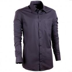 Prodloužená košile s dlouhým rukávem slim černá Assante 20106