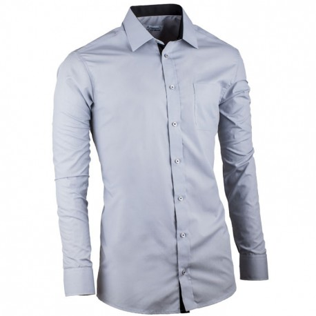 Prodloužená košile slim fit šedá Aramgad 20112