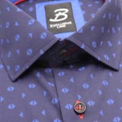 Prodloužená košile slim tmavě hnědá Assante 20211