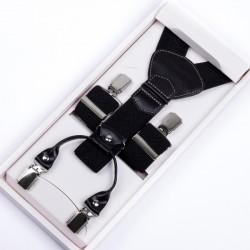 Luxusní černé kšandy kožená poutka Assante 90029