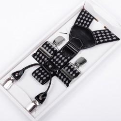 Luxusní kšandy šedočerné kožená poutka Assante 90038