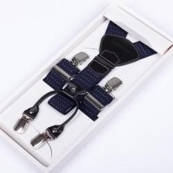 Modré kšandy luxusní kožená poutka Assante 90044