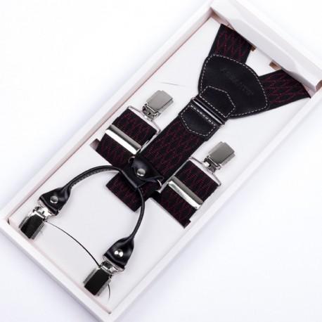 Luxusní kšandy černočervené kožená poutka Assante 90047