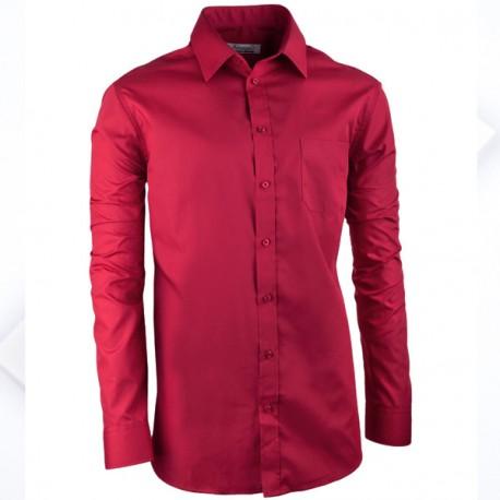 Bordó pánská košile slim s dlouhým rukávem Aramgad 30385