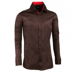 Tmavě hnědá pánská košile slim 100% bavlna non iron Assante 30286