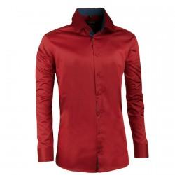 Tmavě červená pánská košile slim 100% bavlna non iron Assante 30388
