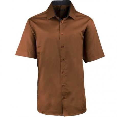 Pánská bronzová košile slim krátký rukáv 100% bavlna non iron Assante 40241