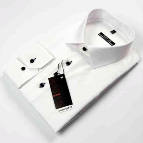 Nadměrná pánská košile bílá dlouhý rukáv Native 120502