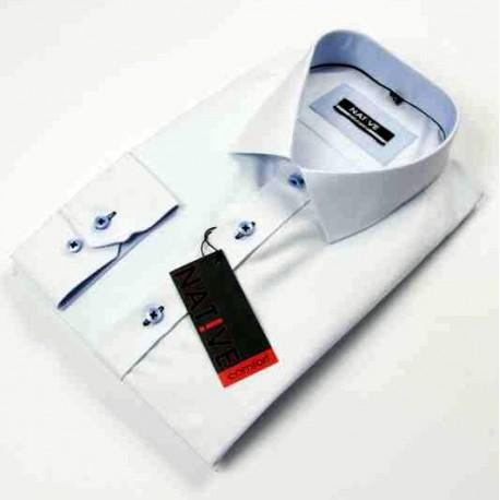 Nadměrná pánská košile bílá dlouhý rukáv Native 120504