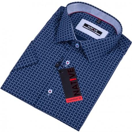 Modrá pánská košile krátký rukáv regular Native 120311