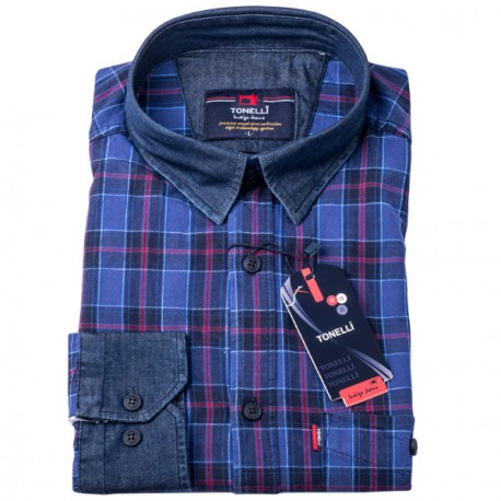 Modrovínová káro košile 100 % bavlna Tonelli 110965