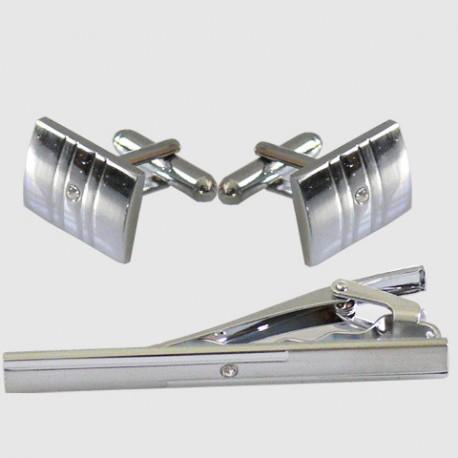 Manžetové knoflíčky se sponou ve stříbrné barvě Assante 90597