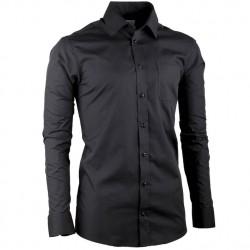 Černá pánská košile dlouhý rukáv slim fit Aramgad 30180