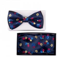 Pánský motýlek květy barva modrá Assante 90324