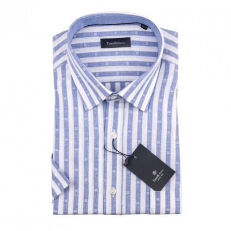 Pánská košile modrobílá krátký rukáv Tonelli 110871