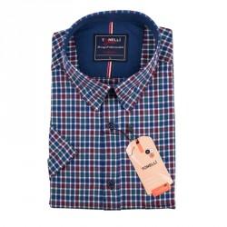Pánská košile modrozelenočervená krátký rukáv Tonelli 110877