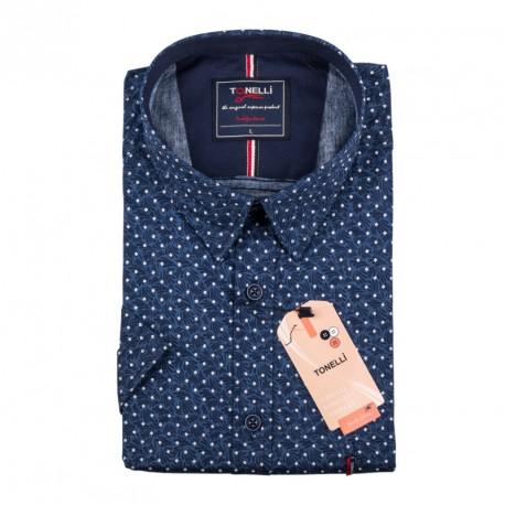 Pánská košile modrá krátký rukáv Tonelli 110879
