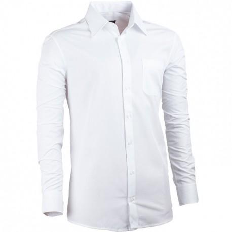 Bílá pánská košile s dlouhým rukávem slim fit Assante 30019
