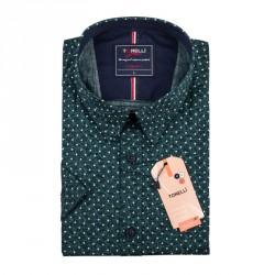 Pánská nadměrná košile zelená krátký rukáv Tonelli 110886