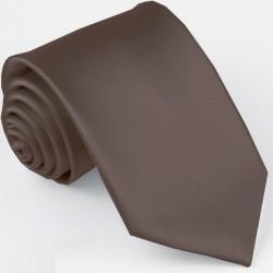 Tmavě hnědá kravata jednobarevná Greg 99923