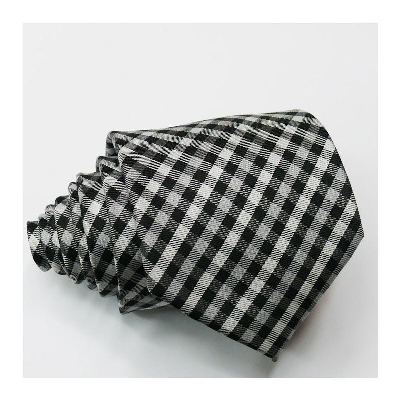 Úzká šedá kravata karovaná Greg 99050, Velikost Uni