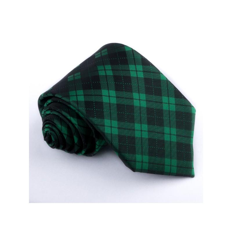 Fotografie Pánská zelená kravata károvaná Greg 95013, Barva zelená