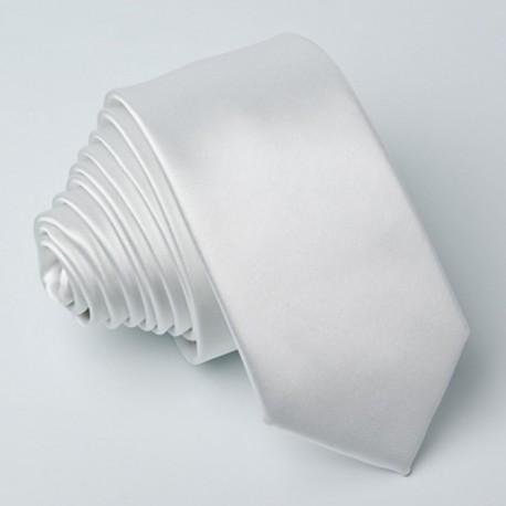 Bílá slim kravata Greg 99110