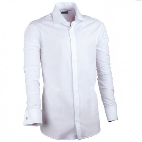 Prodloužená košile slim fit bílá Assante 20017