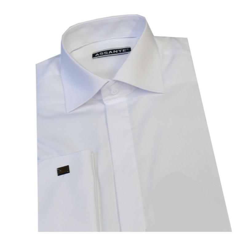 Nadměrná košile na manžetový knoflík rovná bílá Assante 31012, Velikost 47/48 (3XL)